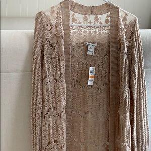 Blush crochet knit cardigan
